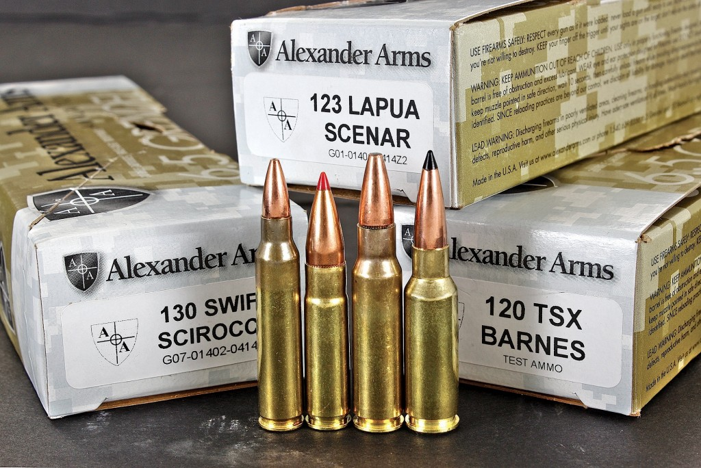 comparing cartridges from Left to right: .223 remington, .300 whisper, 6.8 spc and 6.5 grendeL.—the Latter of which is baLListicaLLy superior to aLL. aLexander arms offers five in-house Loads and three second-party Loads ranging from inexpensive training ammo , to highLy refined, purpose buiLt cartridges.