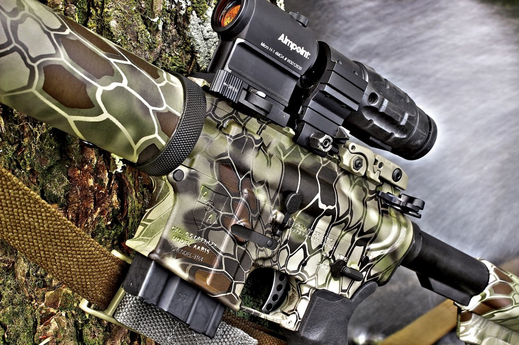 in Lightweight trim—wearing an aimpoint micro h1 and 3x magnifier— the hunter can easiLy transition to a fast paced/cLose quarters roLe, such as hog hunting. the standard tacticaL bLade trigger is an outstanding piece of factory equipment. finish is the extremeLy versatiLe kryptek highLander pattern.
