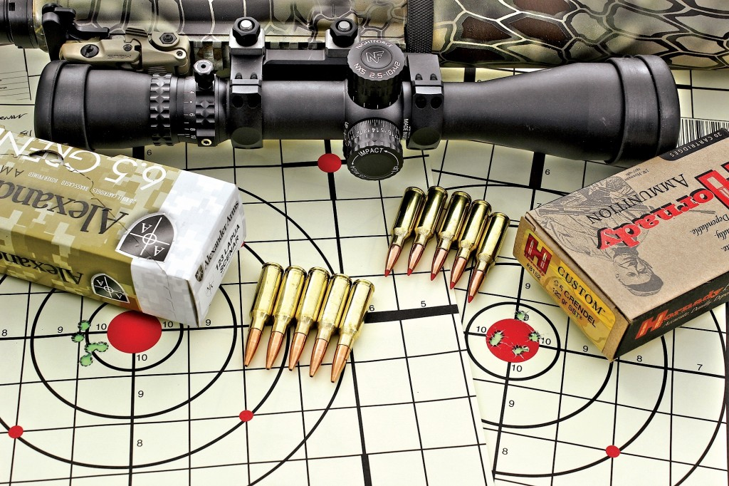 using a nightforce shv rifLescope in a one- piece nightforce mount, 100-yard performance was exceLLent with both hornady and aLexander arms Loads.