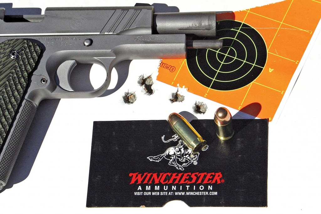 """Inexpensive Winchester """"White Box"""" 230-gr. ball shot under 2 inches for all five shots, with the best 3 in 0.65""""."""