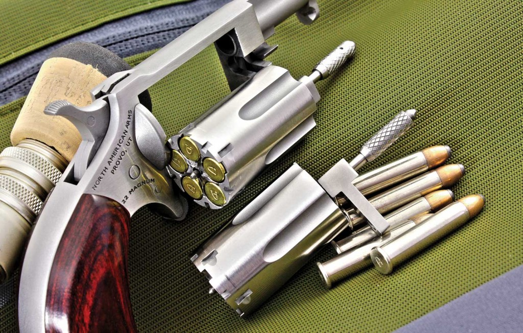The sidewinder's interchangeable .22 LR and .22 Magnum cylinders.