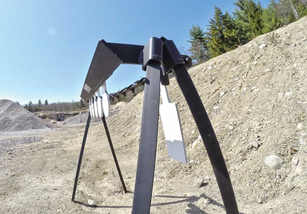 Angled impact surfaces all around help redirect bullet travel to the ground, between the target legs virtually eliminating the chance of a ricochet.