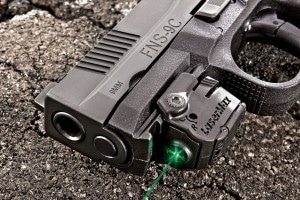 The FNS-9C joins the few compact pistols with an integral accessory rail. Shown is the new LaserMax Micro green-laser.