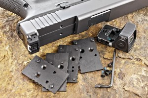 The Modular Optics platform includes mounting plates for a selection of popular mini red-dot optics, including those from Doctor, Meopta, Insight, C-More, leupoldand the version we usedtrijicon, to mount one of our favorites, the TRIJICON RMR.