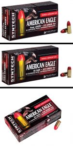 Syntech is initially available in 115 gr. 9 mm, 165 gr. 40 S&W and 230 gr. 45 ACP Total Synthetic Jacket (TSJ) loads. Packaged in boxes of 50 rounds, Syntech will be sold as part of Federal's competitively priced American Eagle product line.