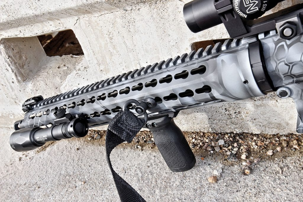 A 15-inch rifle length handguard features a full-length Picatinny strip up top and KeyMod attachment points everywhere else...a total of 112 to be exact!