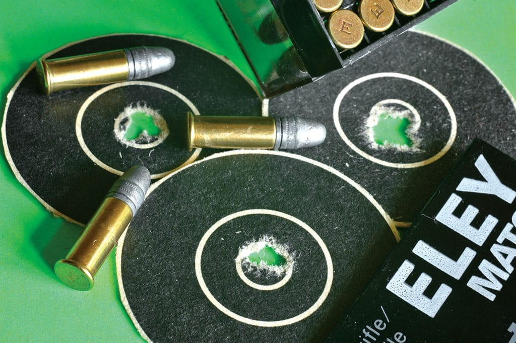 To give you an idea of what Eley ammuniton is capable of, Wayne fired these 50-yard targets with Eley Match in prone competition. Eley bullets like the X-ring!
