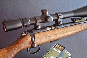 Using the CZ 455 fitted with a 10-40x Sightron riflescope, Wayne fired this 5-shot, 50-yard knot with Eley Subsonic. All shots stayed within 0.35-inches, equaling the performance of the companies match ammo.