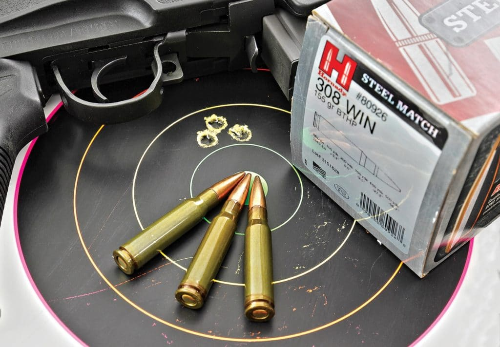 We've never been dissapointed with an M1A's downrange-precision capability, and the SOCOM CQB continued this trend with the majority of ammunition we fed it. Taking top honors was Hornady's steel-cased, 155-gr BTHP Steel Match load, printing this 0.65-inch group.