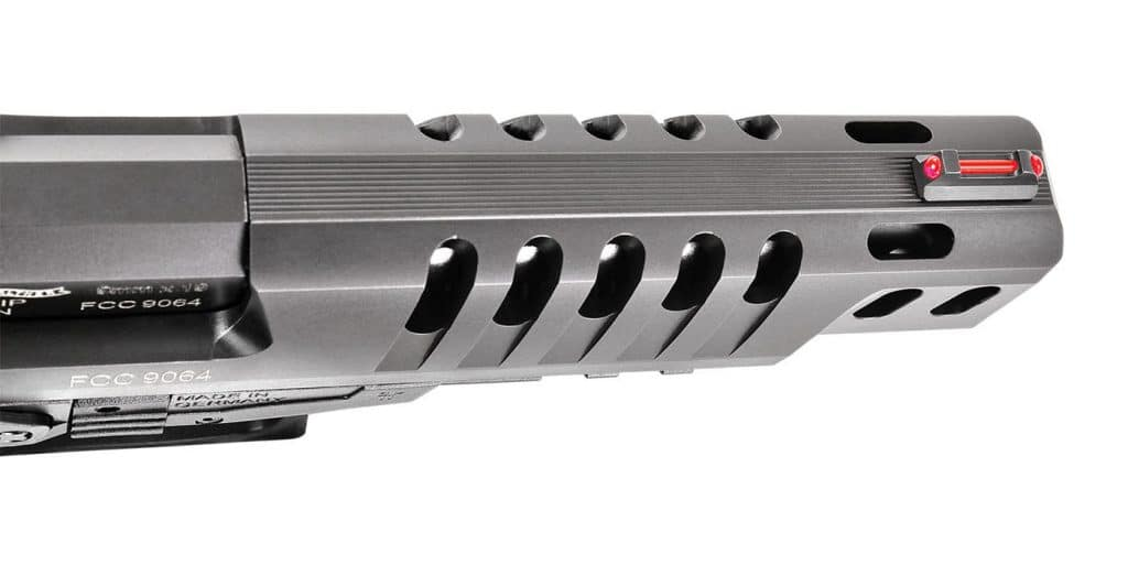 While there's no barrel porting to match, the Q5's ported slide not only reduces reciprocating mass—effectively reducing cycle time—but also enhances the pistol's overall balance.